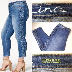 """INC"" denim lace-up straight leg skinny jeans-16W"